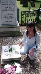 Author Fiona Veitch Smith visiting the grave of Emily Wilding Davison in Morpeth.